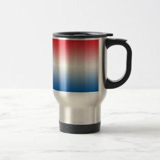 Ombre blanco y azul rojo taza térmica