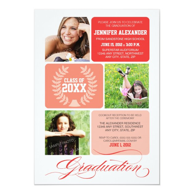 Ombre Blocks Graduation Party Invitation (red) (front side)