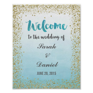 Ombre Blue and Gold Welcome Poster Print