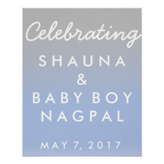 Ombre Blue and Silver Baby Shower Welcome Poster