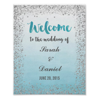 Ombre Blue and Silver Welcome Poster Print