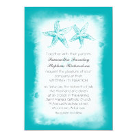 Ombre blue beach wedding invitations