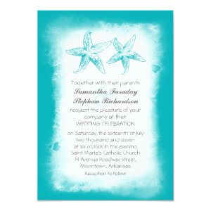 Ombre blue beach wedding invitations 5