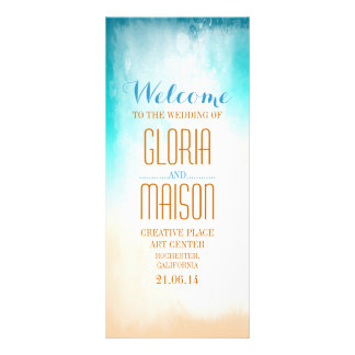 ombre blue beach wedding programs