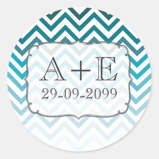Ombre Blue Chevron Wedding Monogram Sticker