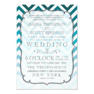 Ombre Blue Chevron Zig Zag Stripes Wedding 5x7 Paper Invitation Card