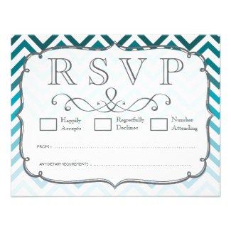 Ombre Blue Chevron Zig Zag Wedding RSVP Cards
