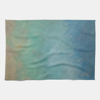 Ombre Blue Green Sea Abstract Painting Hand Towel