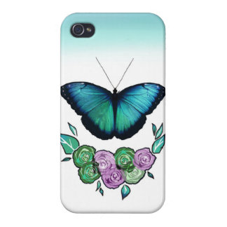 Ombre Blue Monarch Butterfly & Roses iPhone4 Case