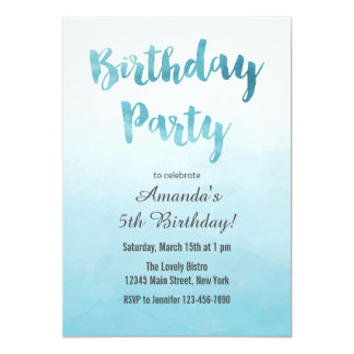Ombre Blue Watercolor Birthday Invitation
