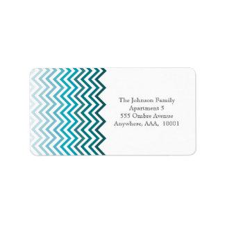 Ombre Chevron Blue Zig Zag Return Address Label