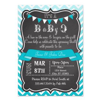 Ombre Chevron Chalkboard BabyQ 5x7 Paper Invitation Card