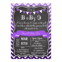 Ombre Chevron Chalkboard BabyQ Purple Card