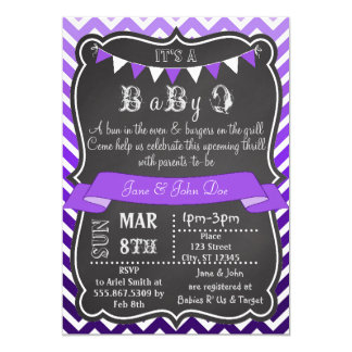 Ombre Chevron Chalkboard BabyQ Purple Card