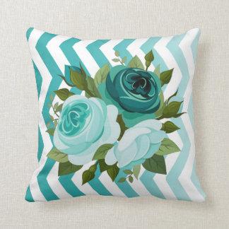 Ombre Chevron Floral Rose Bouquet | aqua teal Throw Pillow