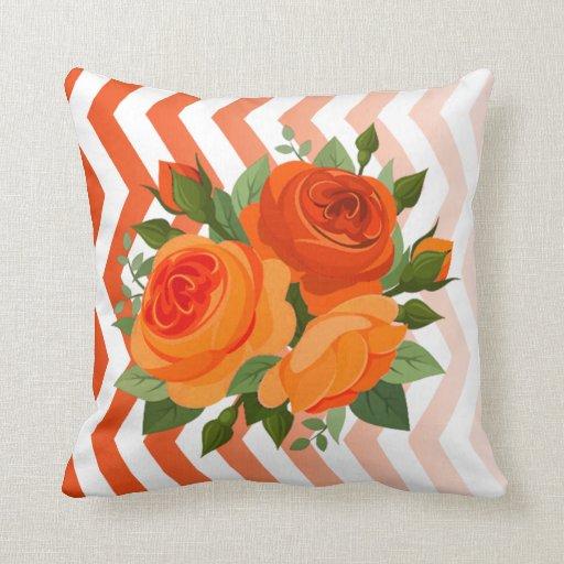 Ombre Chevron Floral Rose Bouquet   coral orange Pillow