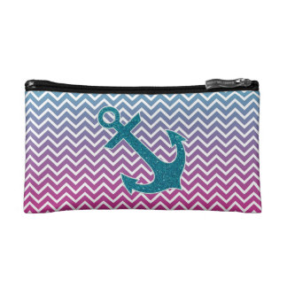 Ombrè Chevron Nautical Glitter Anchor Cosmetic Bag