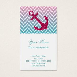Ombrè Chevron Nautical Glitter Anchor Business Card