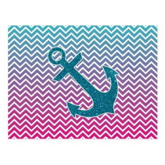 Ombrè Chevron Nautical Glitter Anchor Postcard