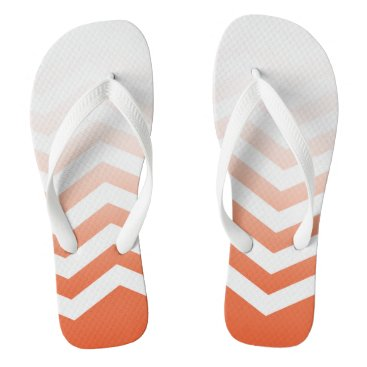 Beach Themed Ombre Chevron Style! | coral white Flip Flops