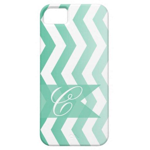 Ombre Chevron Style! | emerald Monogram iPhone 5 Cover