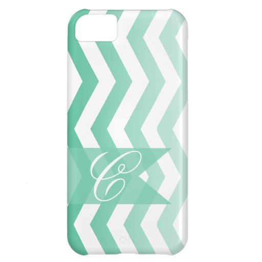 Ombre Chevron Style! | emerald Monogram Cover For iPhone 5C