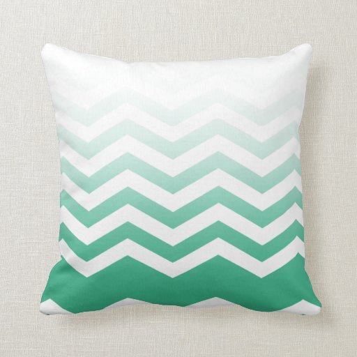 Ombre Chevron Style! emerald Pillow