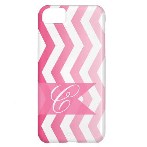 Ombre Chevron Style! | hot pink Monogram iPhone 5C Covers
