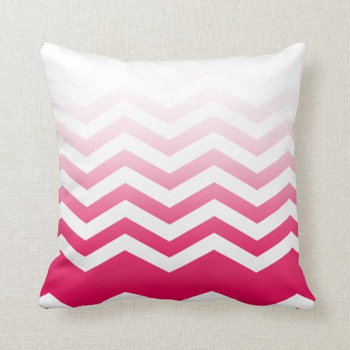 Ombre Chevron Style! hot pink Pillow