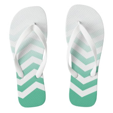 Beach Themed Ombre Chevron Style! | jade green white Flip Flops