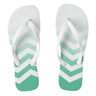 Ombre Chevron Style! | jade green white Flip Flops