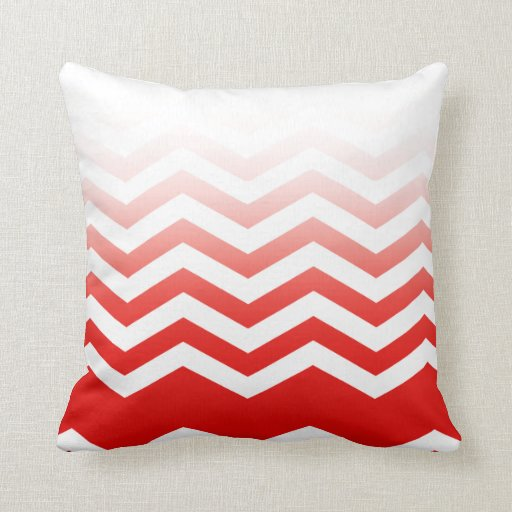 Ombre Chevron Style! red Pillow