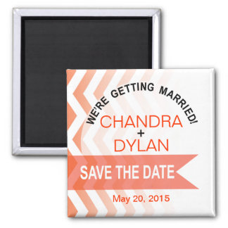 Ombre Chevron Style! Save the Date coral 2 Inch Square Magnet
