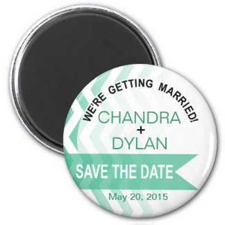 Ombre Chevron Style! Save the Date emerald Magnet