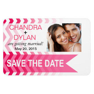 Ombre Chevron Style! Save the Date hot pink Magnet