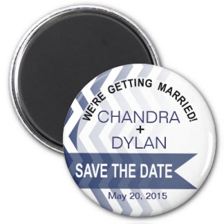 Ombre Chevron Style! Save the Date navy Magnet
