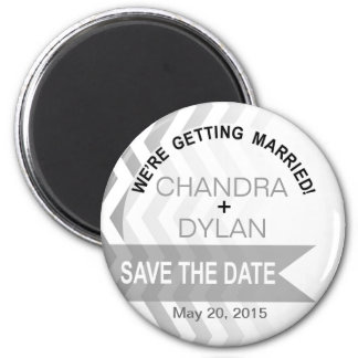 Ombre Chevron Style! Save the Date silver 2 Inch Round Magnet