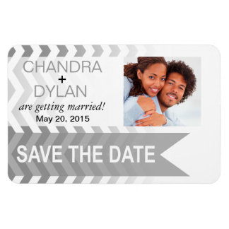 Ombre Chevron Style! Save the Date silver Magnet
