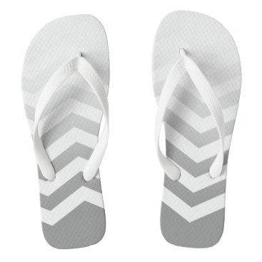 Beach Themed Ombre Chevron Style! | silver grey white Flip Flops