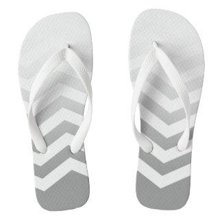 Ombre Chevron Style! | silver grey white Flip Flops