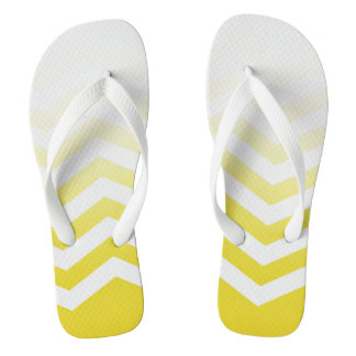 Ombre Chevron Style! | sunshine yellow white Flip Flops
