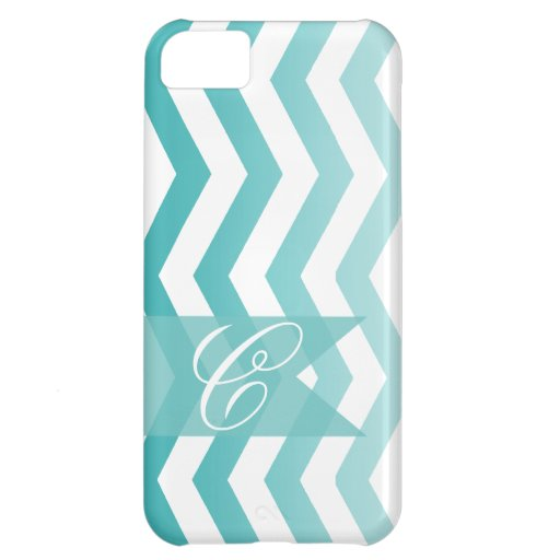 Ombre Chevron Style! | teal Monogram Cover For iPhone 5C