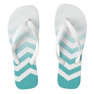 Ombre Chevron Style! | teal white Flip Flops