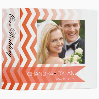 Ombre Chevron Style! wedding album | coral 3 Ring Binder