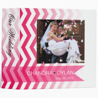 Ombre Chevron Style! wedding album | hot pink 3 Ring Binder