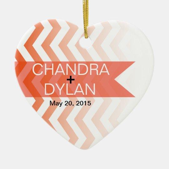 Ombre Chevron Style! Wedding coral Ceramic Ornament