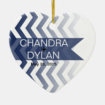 Ombre Chevron Style! Wedding navy Double-Sided Heart Ceramic Christmas Ornament