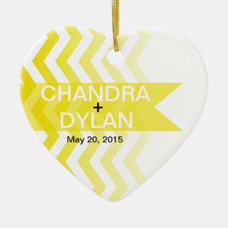 Ombre Chevron Style! Wedding yellow Ceramic Ornament