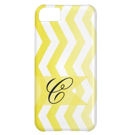 Ombre Chevron Style! yellow Monogram Case For iPhone 5C