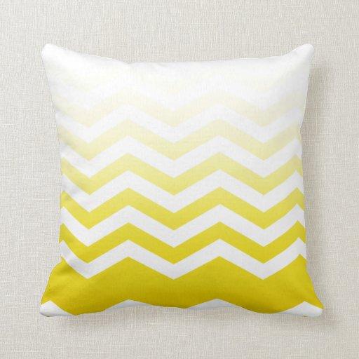 Ombre Chevron Style! yellow Throw Pillow